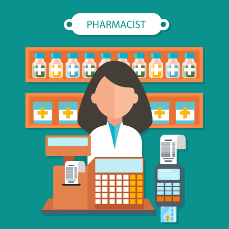 dispensary: Pharmacist concept flat design. Pharmaceutical and doctor, health and medical, medicine occupation, person and care, healthcare and professional human illustration Illustration