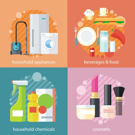lipstick brush: Household beverages food and cosmetic. Appliance and makeup fashion, lipstick and brush, powder and care, detergents and mascara, bottle product, drink and kitchen equipment set on banners Illustration