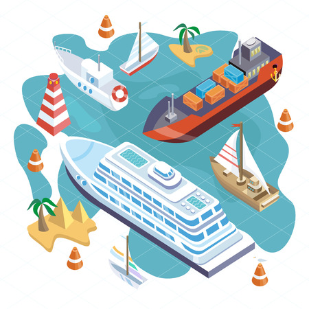containership: 3d isometric set ships. Sea transport. Island and buoy, motorboat and containership, cruise and tanker, cargo shipping, boat transportation, ocean and vessel on white background
