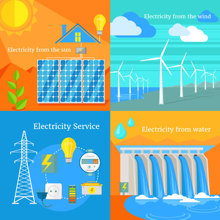 hydroelectric: Solar and hydro electricity windy. Water and sun, solar panels, solar energy, solar power, energy and solar system, solar house, air and wind blowing, wind turbine, water power illustration