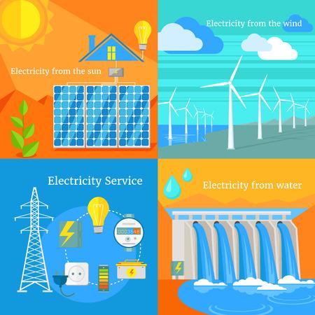 Zonne-energie en waterkracht elektriciteit winderig. Water en zon, zonnepanelen, zonne-energie, zonne-energie, energie en zonne-energie, zonne-huis, de lucht en de wind waait, windturbines, waterkracht illustratie Stock Illustratie
