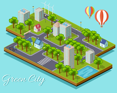 green building: Isometric isolated green city concept. Eco city, green cityscape, green building, sustainable city, clean city, architecture cityscape, building and nature, eco environment illustration Illustration