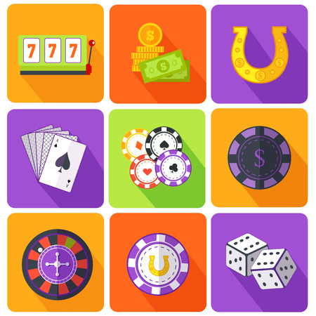leisure games: Set of icons gambling games flat style. Casino and slot machine, poker game, dice and roulette, las vegas, vegas and playing cards, win and play, gamble leisure, fortune and risk illustration