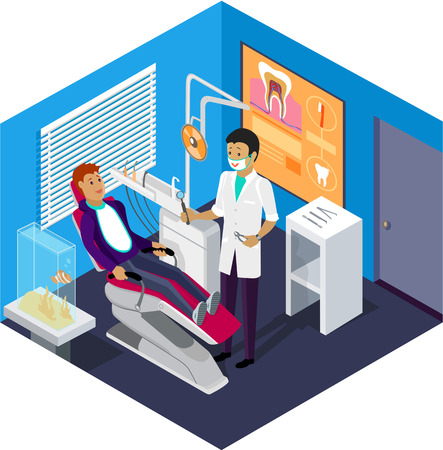 odontologa: Oficina del dentista isométrica durante paciente recepción. Odontología y cuida la oficina, dentista y el paciente, silla del dentista, dental y médica, salud oral, ilustración boca de la salud Vectores