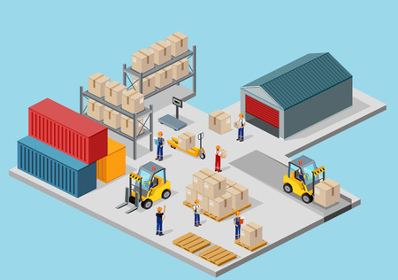 process: Icon 3d isometric process of the warehouse. Warehouse interior, logisti and factory, warehouse building, warehouse exterior, business delivery, storage cargo illustration
