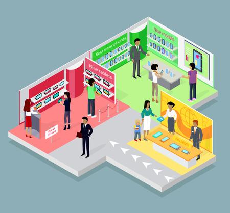 아이소 메트릭 3D 모바일 매장 디자인. 모바일 쇼핑, 전자 제품 매장, 전화 매장, 휴대 전화 매장, 쇼핑 및 구매, 판매, 전자, 구매 제품의 그림 일러스트