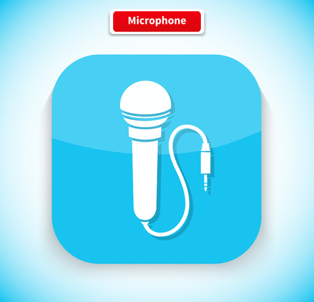 vocal: Microphone app icon flat style design. Microphone isolated, music microphone icon, speaker and vintage microphone, sound and vocal, radio live button, karaoke and audio illustration