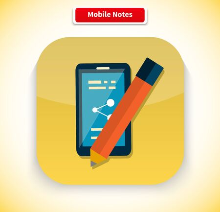 pen icon: Mobile notes app icon flat style design. Notepad icon, notebook icon, pen icon, pencil icon, memo icon, phone technology, business smartphone, screen application, app  telephone illustration