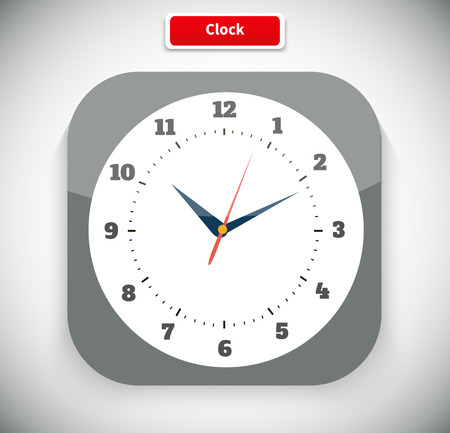 Time and clock icon. Time, watch, clock icon, alarm clock, wall clock,  digital clock, old clock. Clock flat icon. World time concept. Clock face blank. Vector simple classic white round wall clock Vectores