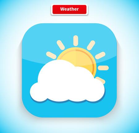 clima: Tiempo aplicaci�n icono del dise�o estilo plano. Icono del tiempo, previsi�n del tiempo, sol y nubes, temperatura temporada, la meteorolog�a y nublado, la naturaleza del clima, el cielo y la ilustraci�n interfaz de la aplicaci�n Vectores