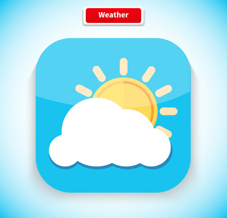 cloudy weather: Weather app icon flat style design. Weather icon, weather forecast, sun and cloud, season temperature, meteorology and cloudy, climate nature, sky and application interface illustration Illustration