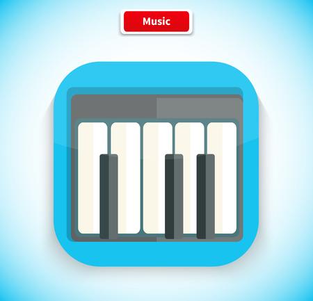 piano: M�sica icono de la aplicaci�n de dise�o de estilo plano. logotipo de la m�sica, icono de la pel�cula, bot�n de sonido musical, aplicaci�n web de piano, instrumento de audio, el juego melod�a, Internet multimedia ilustraci�n