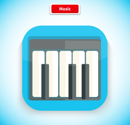 logo musique: Music app icon flat style design. Music logo, movie icon, sound musical button, piano web application, audio instrument, play melody, multimedia internet illustration