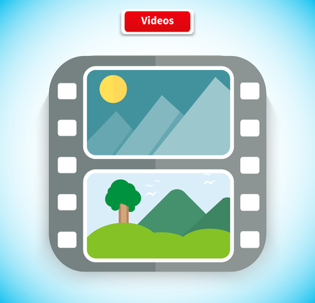 play icon: Video app icon flat style design. Video icon, media icon, movie icon, play icon, media digital web, internet movie player, service play application, multimedia film button illustration