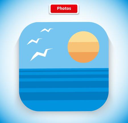 picture icon: Photo app icon flat style design. Picture icon, image icon, gallery icon, photo frame,  image application, photography art, frame album, button web illustration