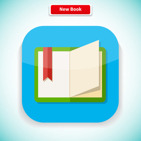 novel: New book app icon flat style design. New book cover, modern book, novel and book store, library and book spine, paper and information, literature education illustration Illustration