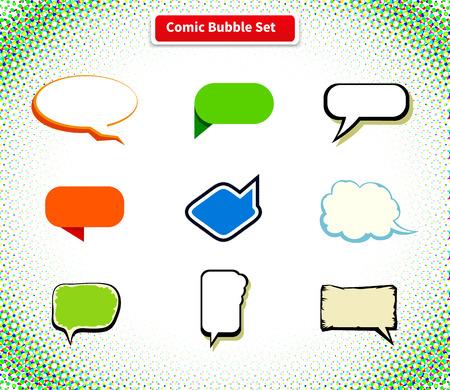 comic: cómica de la burbuja conjunto de iconos de diseño de estilo plano. fondo cómico, cómic, burbuja del discurso, explosión cómico, mensaje de chat, la comunicación de conversación nube, globo web ilustración de diálogo hablar Vectores