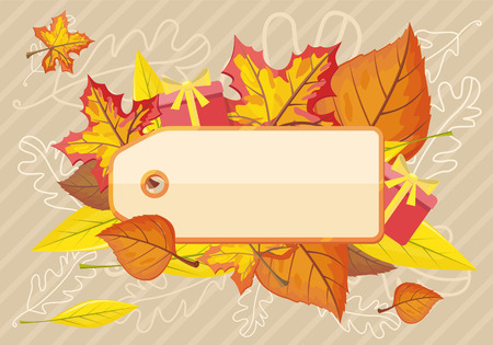 autumn fashion: Tag label template for autumn sale. Fall sale, autumn leaves, autumn background, discount tag price, season promotion, offer advertising, retail shopping, fashion business illustration