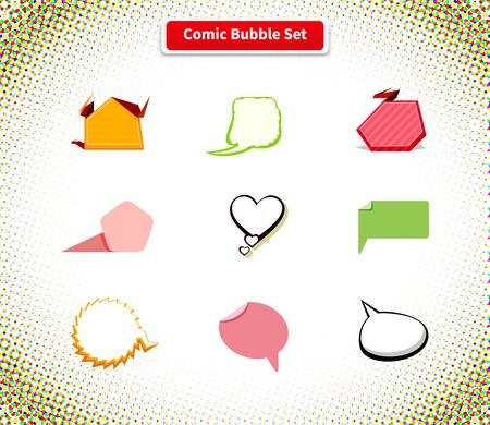 dialogo: cómica de la burbuja conjunto de iconos de diseño de estilo plano. fondo cómico, cómic, burbuja del discurso, explosión cómico, mensaje de chat, la comunicación de conversación nube, globo web ilustración de diálogo hablar Vectores