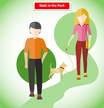 walk: Walk in the park with dog concept. Walking in park, park walkway, outdoor walk, people lifestyle, pet animal, woman and man, path and couple illustration