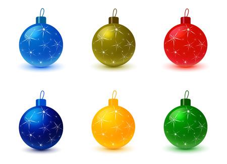 Set van de kerstboom gekleurde ballen. Kerstversiering, Kerst achtergrond, kerst ornamenten, feest en vakantie, ornament Kerstmis, bol snuisterij, decor licht, decoratieve illustratie