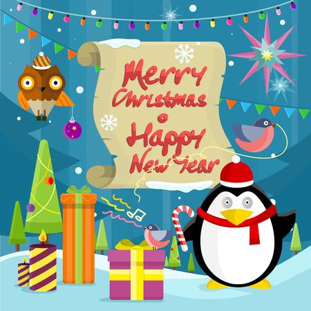 greeting season: Merry Christmas and happy new year banner. Merry christmas text, merry christmas card, celebration holiday xmas, greeting card, winter season decoration illustration