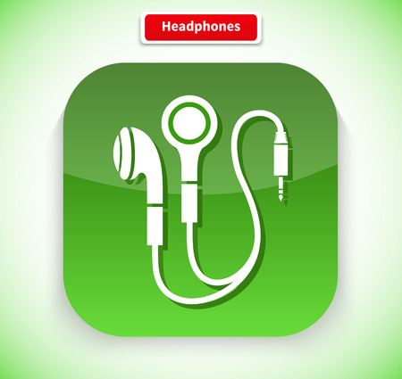headphones icon: Headphone app icon flat style design. Music and headphones isolated, earphone and headphones icon, technology audio sound, listen device, gadget equipment illustration