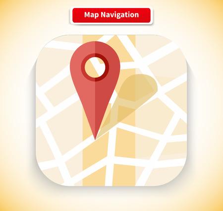 navigation bar: Map navigation app icon flat style design. Gps navigation, navigation icon, compass and road map, navigation bar, web location, search road, point marker pin illustration Illustration