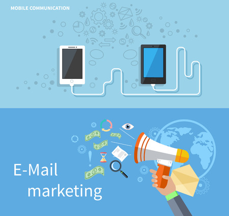 mail: Mobile communication and e-mail marketing. Mobile technology, mobile phone, communication technology, email marketing, e-mail marketing template illustration