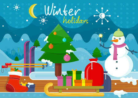 winter season: Winter holidays concept design. holiday, winter, christmas, winter wonderland, winter scene, winter background, snow and tree, snowman and celebration, sled and xmas, new year illustration Illustration