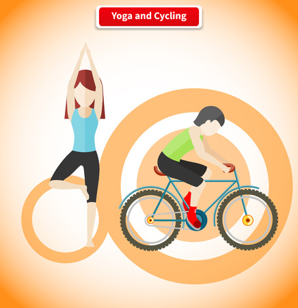 meditation man: Yoga and cycling sport concept design. Meditation and fitness, yoga poses, exercise and zen, cycling race, cyclist on mountain bike, healthy activity man, human body aerobic illustration
