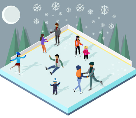 winter season: Ice rink with people isometric style. Ice skating, sport winter, skate and skating, cold season, outdoor activity, lifestyle motion, skater exercise, speed active recreation illustration Illustration