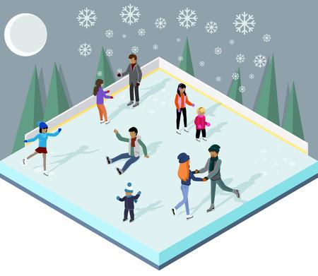 �cold: Pista di pattinaggio con la gente stile isometrico. Pattinaggio su ghiaccio, sport invernali, pattinaggio e pattinaggio, stagione fredda, attivit� all'aria aperta, lifestyle movimento, esercizio pattinatore, velocit� attivo ricreazione illustrazione Vettoriali