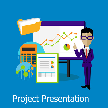 office presentation: Project presentation concept design style. Project management, project plan, project icon, business presentation, meeting or conference or seminar, office projection, information show illustration