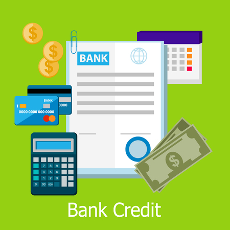 bank icon: Bank credit concept design style. Credit, bank loan, credit card, banking and finance, finance payment, banking financial, pay cash, electronic debit illustration