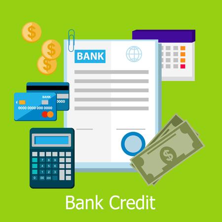 Bankkrediet conceptontwerp stijl. Krediet, lening van de bank, credit card, bankwezen en financiën, financiën betaling, bancaire financiële, contant betalen, elektronische betaalpas illustratie