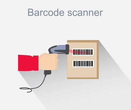 Barcode scanner icon design style. Barcode scanning, barcode reader, barcode scanner icon, reader for retail, data label, laser digital, identification scan information, scanning sale illustration