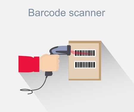 inventory: Barcode scanner icon design style. Barcode scanning, barcode reader, barcode scanner icon, reader for retail, data label, laser digital, identification scan information, scanning sale illustration