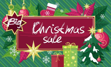 holiday shopping: Christmas sale sign design concept. Christmas shopping, holiday sale, christmas background, winter sale, holiday and retail, price buy label, gift and discount tag, market shopping illustration Illustration