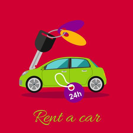Huur een auto. Huren van een auto per uur of dag 24-7. Groene auto met een sleutel. Huur een auto concept in plat design cartoon stijl. Auto, een auto huren, verhuren, autosleutels, autoverhuur, autoleasing, huren een icoon auto, taxi