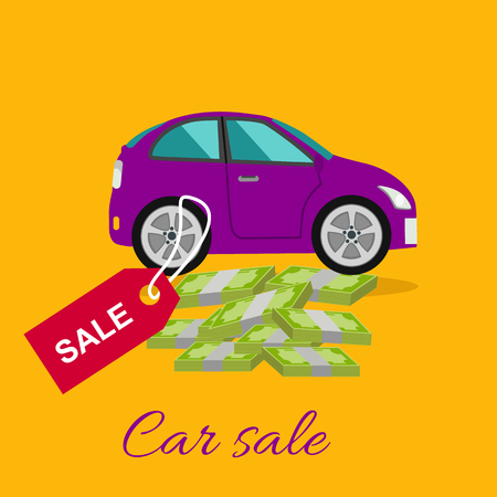 car showroom: Car sale design template with modern car and tag. Concept in flat style cartoon design on stylish background. Car, sale, car dealership, car showroom, car lot, car salesman, car dealer, used car