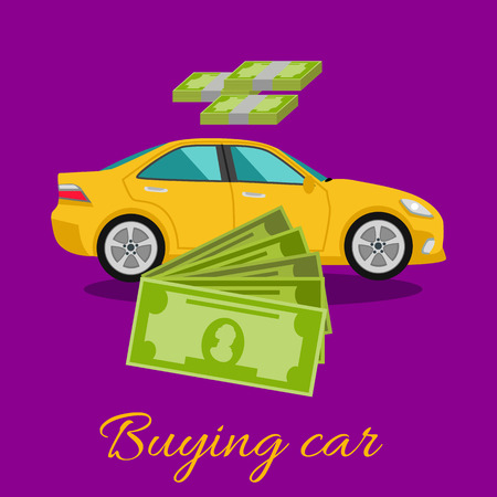 dealership: Buying car concept. Gift car and dollars money in flat design cartoon style on stylish background. Car, shopping car, car dealership, new car, sell car, buy, car sales