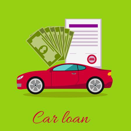 car loan: Car loan approved document with dollars money concept. Modern car on stylish background in flat cartoon design style. Loan, car, auto loan, buying a car, new car, car finance, car keys