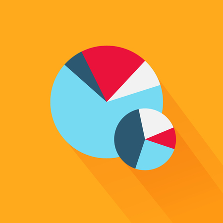 information design: Pie chart flat sign design concept. Graph pie, infographics and pie chart, diagram marketing, report data, circle statistic, finance presentation, market information financial illustration