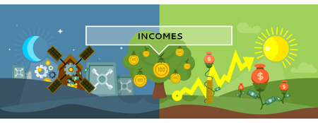 income tax: Incomes concept design style flat. Money, income tax, revenue and profit, salary, investment and tax, business finance, earning cash dollar, financial growth coin illustration