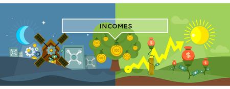 efectivo: Ingresos concepto de diseño de estilo plano. Dinero, impuesto a las ganancias, ingresos y beneficios, salarios, inversiones e impuestos, financiación de las empresas, ganando dólares en efectivo, el crecimiento financiero ilustración de la moneda