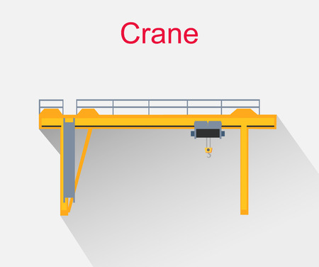 Crane equipment icon design style. Construction and construction crane, crane truck, crane hook, industrial engineering, industry and hook illustration