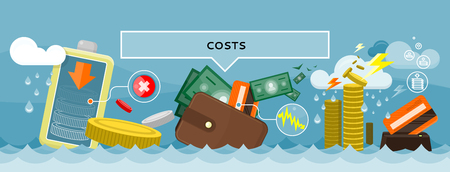 wealth: Costs concept design style flat. Price expensive, fees and cut costs, savings budget, business finance, investment and bank, wealth financial, exchange cash illustration