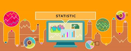 유행: 통계 개념의 디자인 스타일 플랫. 비용과 소득 통계 아이콘, 인포 그래픽과 그래프, 데이터, 차트, 통계 그래프, 사업 보고서, 도면 정보 ilustration입니다