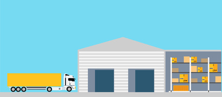 warehouse: Freight transportation concept design style. Logistic and freight truck, truck cargo, container and transport, package and delivery, box and order, vehicle and export, warehouse and van illustration Illustration